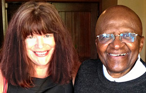 Archbiship Desmond Tutu with the author Nancy Tillman during their collaborative work